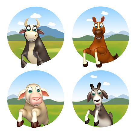 smile cartoon: 3d rendered illustration of farm animal Stock Photo