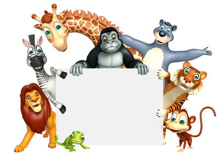 white board: 3d rendered illustration of wild animal with white board Stock Photo
