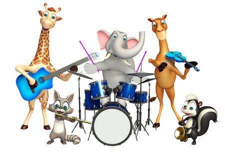 3d rendered illustration of wild animal with musical instrument