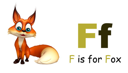 wild animal: 3d rendered illustration of Fox wild animal with alphabate