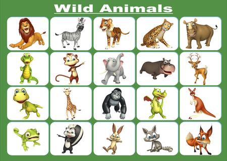animaux du zoo: 3d illustration rendu de graphique des animaux sauvages Banque d'images