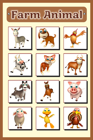 domestic animals: 3d rendered illustration of farm animal chart