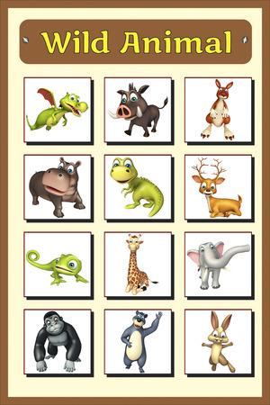 chamelion: 3d rendered illustration of wild animal chart