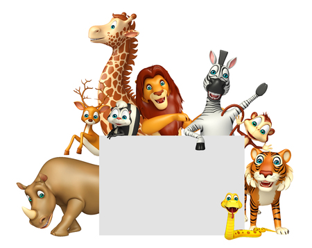 3d rendered illustration of wild animal with white board Stock Photo
