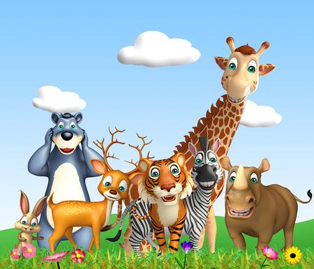 3d rindió la ilustración de animales salvajes