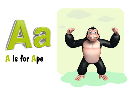 ape: 3d rendered illustration of Ape wild animal with alphabate