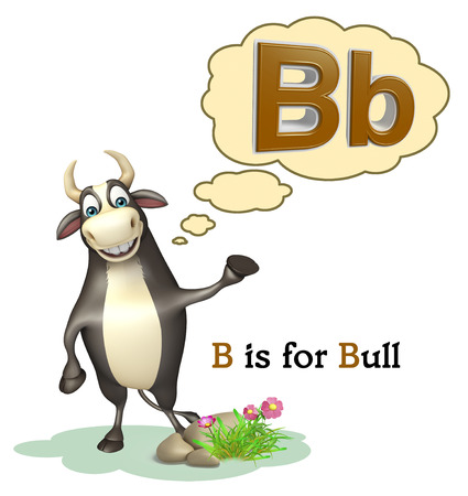 english village: 3d rendered illustration of Bull farm animal with alphabate