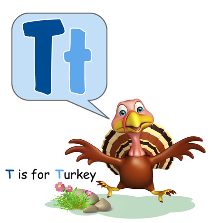 english village: 3d rendered illustration of turkey farm animal with alphabet