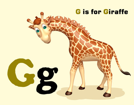 g giraffe: 3d rendered illustration of Giraffe wild animal with alphabate