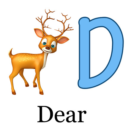 3d rendered illustration of Dear  wild animal with alphabate Stock Photo