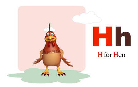 english village: 3d rendered illustration of Hen bird with alphabet Stock Photo