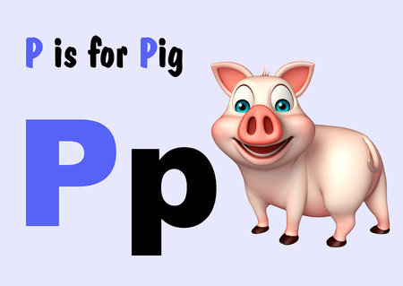 english village: 3d rendered illustration of Pig farm animal with alphabet