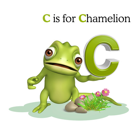 chamelion: 3d rendered illustration of Chamelion wild animal with alphabate
