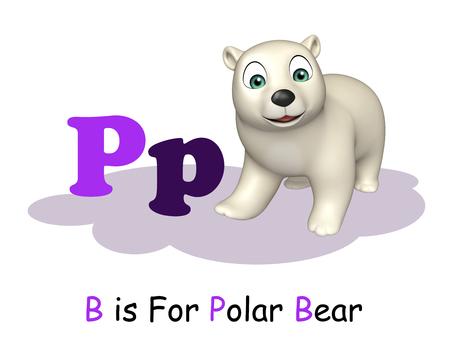 teach: 3d rendered illustration of Polar bear with alphabet Stock Photo