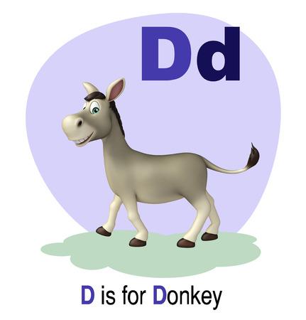 english village: 3d rendered illustration of Donkey farm animal with alphabte