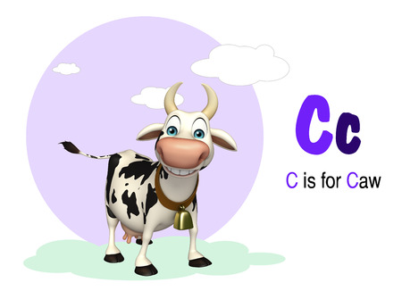 english village: 3d rendered illustration of Caw farm animal with alphabate Stock Photo