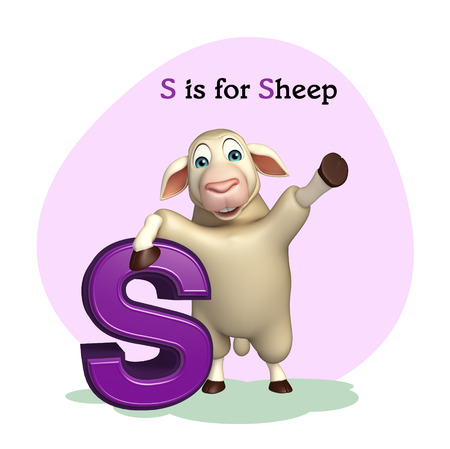children s art: 3d rendered illustration of Sheep farm animal with alphabet