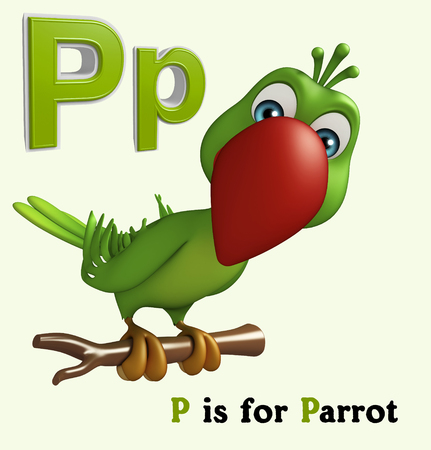 english village: 3d rendered illustration of Parrot bird with alphabet