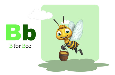 3d rendered illustration of bee with alphabte