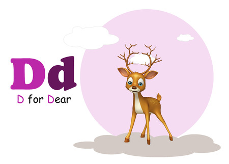 my dear: 3d rendered illustration of Dear  wild animal with alphabate Stock Photo