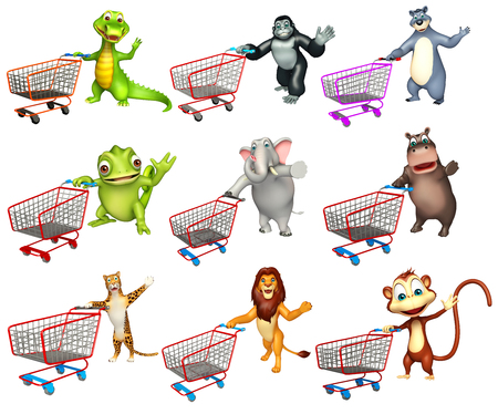 trolly: 3d rendered illustration of wild animal with Trolly Stock Photo