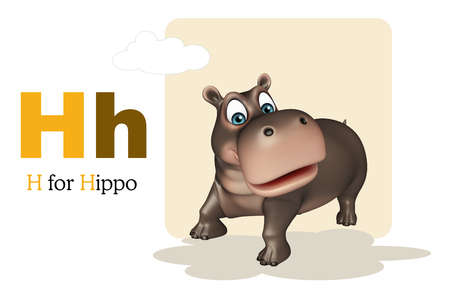 kid book: 3d rendered illustration of Hippo with alphabet