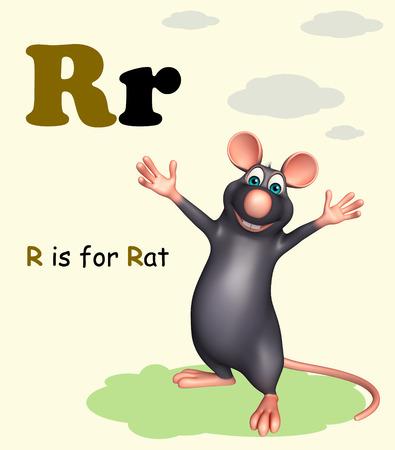fondo para bebe: 3d rendered illustration of Rat pet animal with alphabet