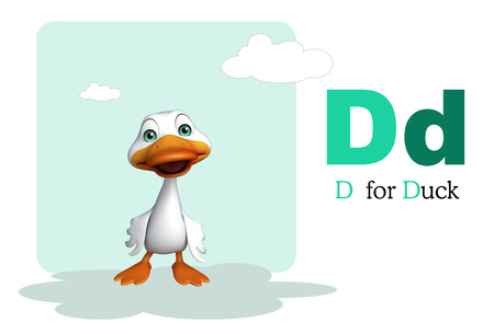 english village: 3d rendered illustration of Duck farm animal with alphabate