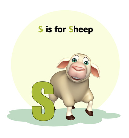 children s book: 3d rendered illustration of Sheep farm animal with alphabet