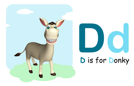 english village: 3d rendered illustration of Donkey farm animal with alphabte