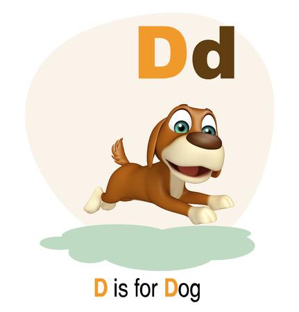 english village: 3d rendered illustration of Dog farm animal with alphabate Stock Photo