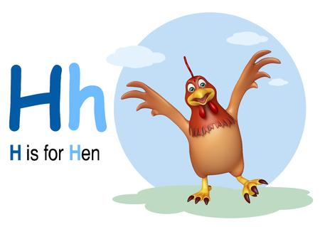 english village: 3d rendered illustration of Hen bird with alphabet Stock Photo