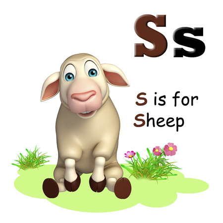 english village: 3d rendered illustration of Sheep farm animal with alphabet