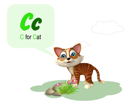 english village: 3d rendered illustration of Cat domastic animal with alphabte
