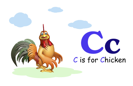 english village: 3d rendered illustration of Chicken farm bird with alphabate