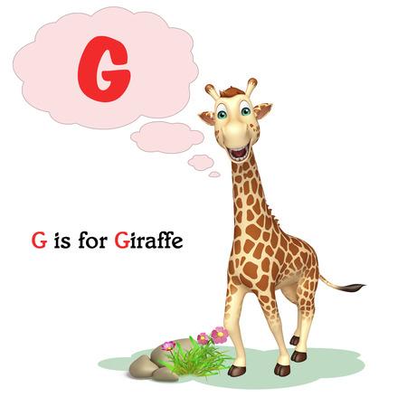 g giraffe: 3d rendered illustration of Giraffe wild animal with alphabate