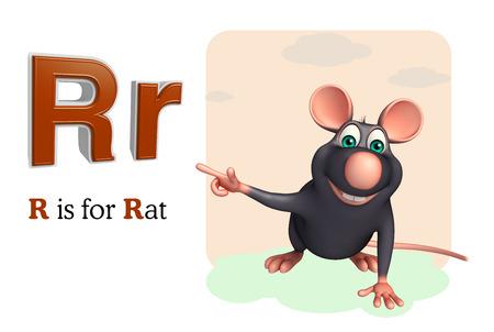 english village: 3d rendered illustration of Rat pet animal with alphabet