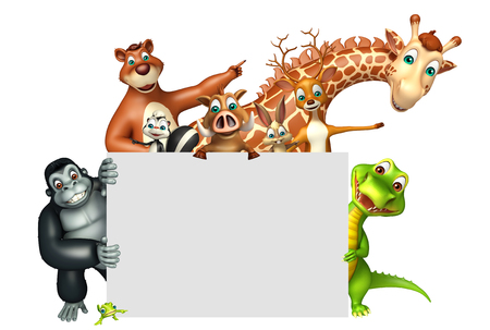 wildlife conservation: 3d rendered illustration of wild animal with white board Stock Photo