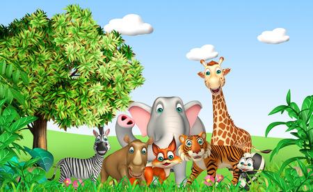 animal in the wild: 3d rindió la ilustración de animales salvajes