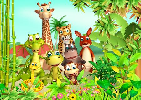 animales del bosque: 3d rindió la ilustración de animales salvajes