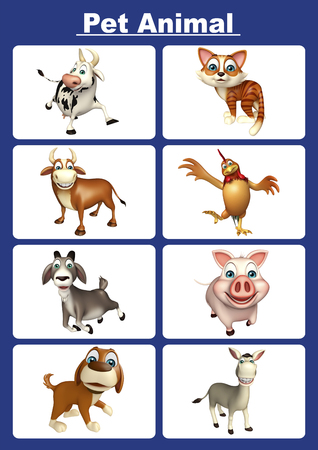 domestic animals: 3d rendered illustration of pet animal chart