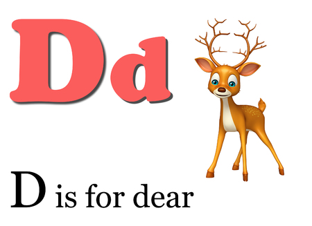 dear: 3d rendered illustration of Dear  wild animal with alphabate Stock Photo