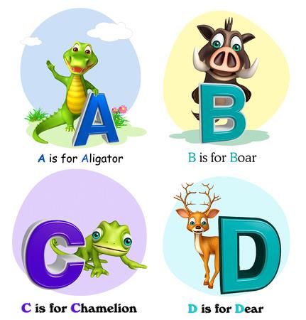 chamelion: 3d rendered illustration of Aligator, Boar, Chamelion and Dear with Alphabate