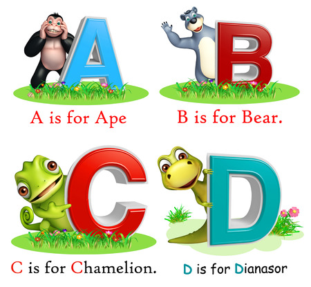 chamelion: 3d rendered illustration of Ape, Bear, Chamelion and Dinasour with Alphabate