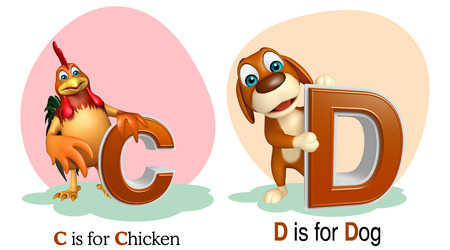 3d chicken: 3d rendered illustration of Chicken and Dog with Alphabate