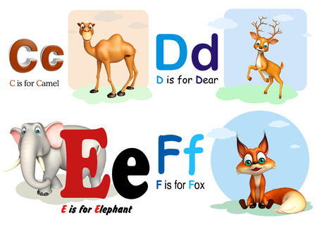 3d rendered illustration of Camel, Dear, Elephant and Fox with Alphabate Stock fotó