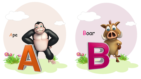 ape: 3d rendered illustration of Ape and Boar with Alphabate