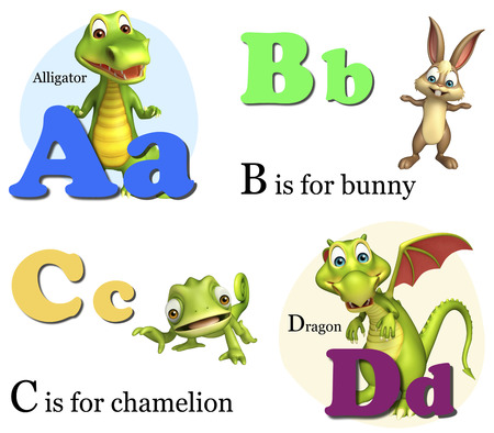aligator: 3d rendered illustration of Aligator, Bunny, Chamelion and dragon with Alphabate