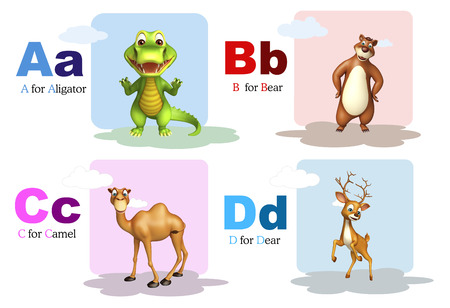 aligator: 3d rendered illustration of Aligator, Bear, Camel and Lion with Alphabate