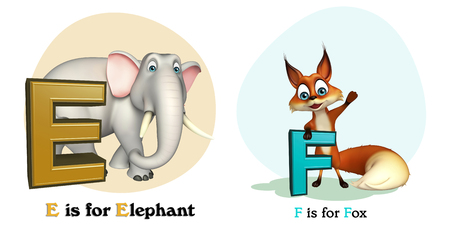 3d rendered illustration of Elephant and Fox with Alphabate
